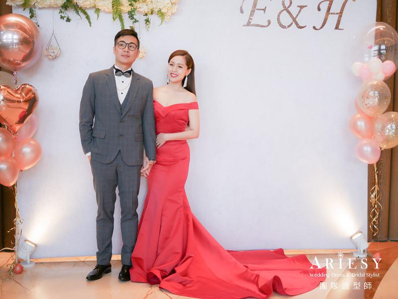 紅色禮服造型,送客髮型,時尚造型,新娘油頭造型,歐美風格