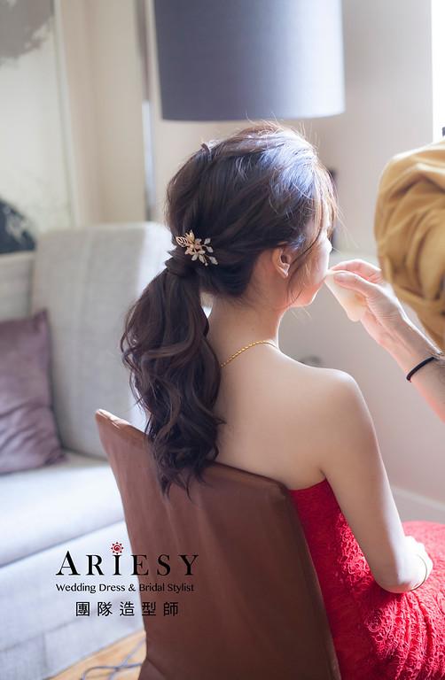 台北新祕,新娘秘書,新娘造型,自然清透妝感,蓬鬆編髮,馬尾造型,新娘髮型,推薦新祕