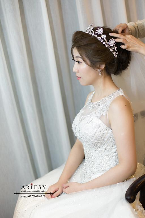 皇室皇冠韓風白紗新娘造型,新娘秘書,新秘,台北新秘推薦,愛瑞思,ARIESY