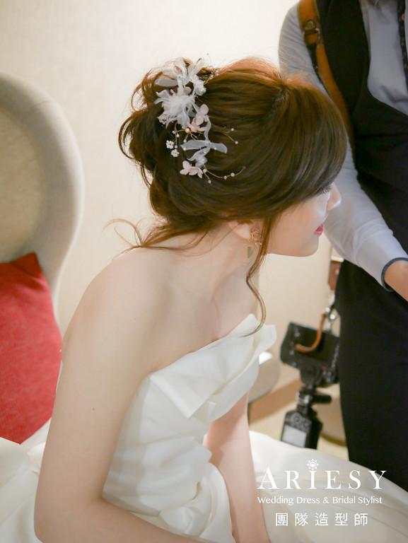 白紗進場髮型,短髮新娘,蓬鬆盤髮,台北新秘,新娘髮型
