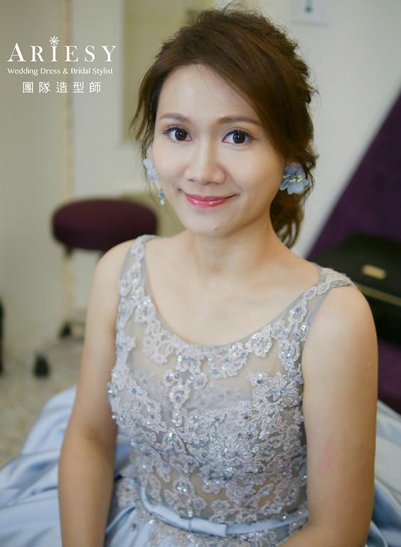 自然清透妝感,文定造型,手作花耳環,新娘造型,新娘秘書