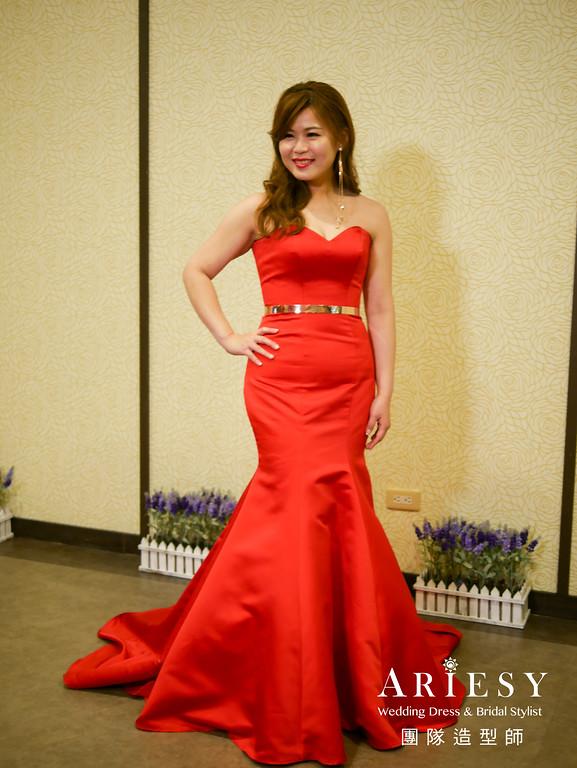 送客髮型,時尚造型,歐美風格,紅色禮服造型,推薦新秘