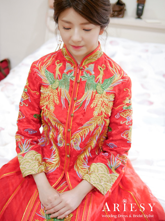 板橋新娘秘書,秀禾服新娘造型,新秘,自然輕透妝感,新娘秘書