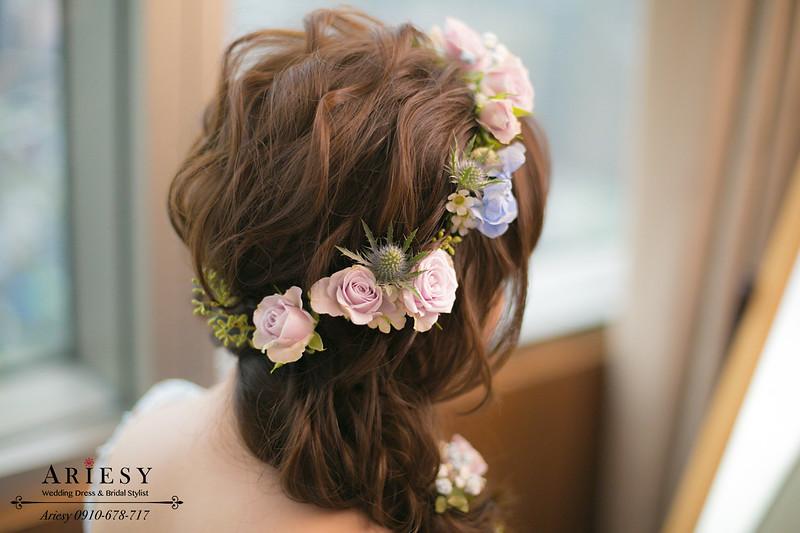 藍色禮服新娘造型,鮮花新娘髮型,鮮花新秘,編髮新娘髮型,花圈造型