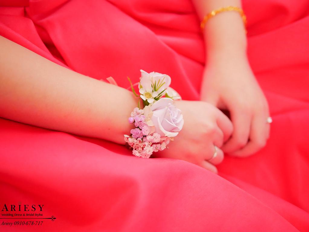 紅色禮服新娘造型,台北新秘,蓬鬆新娘造型,編髮造型