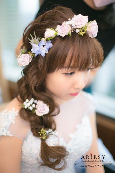 藍色禮服新娘造型,鮮花新娘髮型,鮮花新秘,編髮新娘髮型,日系新娘,花圈造型