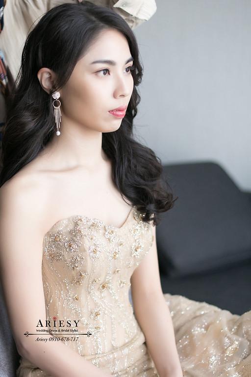 第九大道金色禮服,新娘秘書,台北新秘,黑髮送客新娘造型,ARIESY,愛瑞思