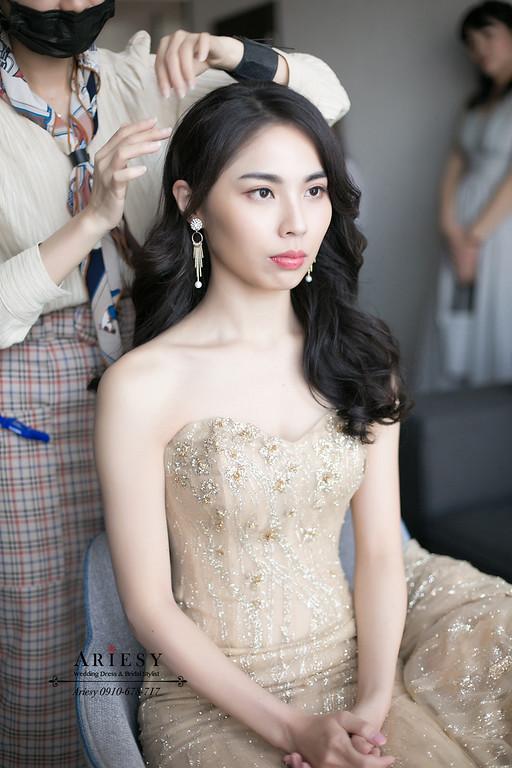 第九大道金色禮服,黑髮新娘秘書,台北新秘,黑髮送客新娘造型,ARIESY,愛瑞思