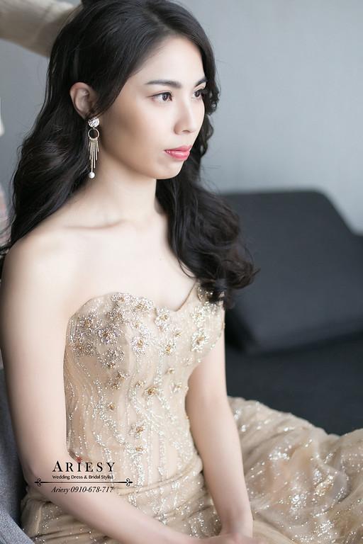 第九大道金色禮服,新娘秘書,台北新秘,送客新娘造型,ARIESY,愛瑞思