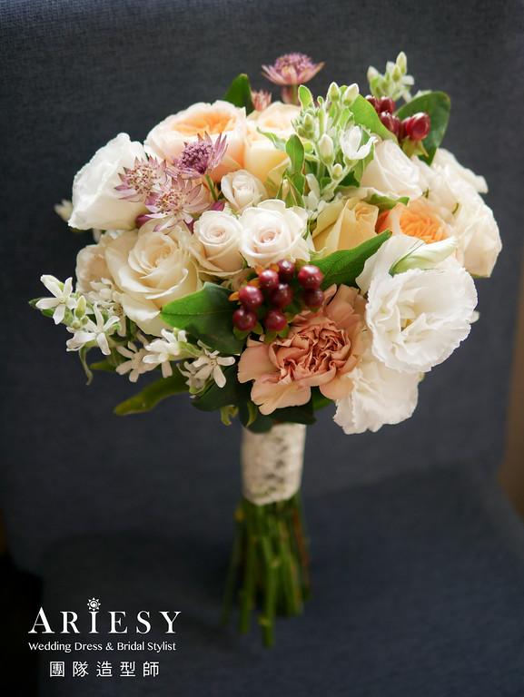 捧花訂製,新秘花藝,新娘捧花,新秘推薦,庭園玫瑰