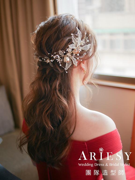 文定髮型,新娘公主頭,新娘妝感,新娘髮型,紅色禮服造型