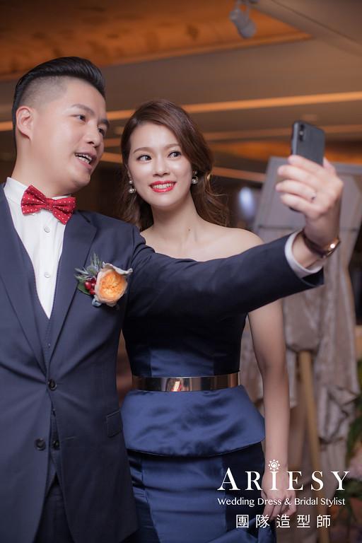 寶藍色禮服造型,送客髮型,時尚新娘造型,新娘髮型,歐美風格
