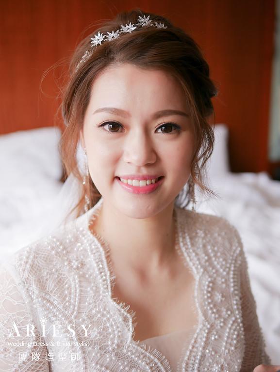 迎娶髮型,韓系新娘造型,台北新秘推薦,清透自然妝感,白紗造型