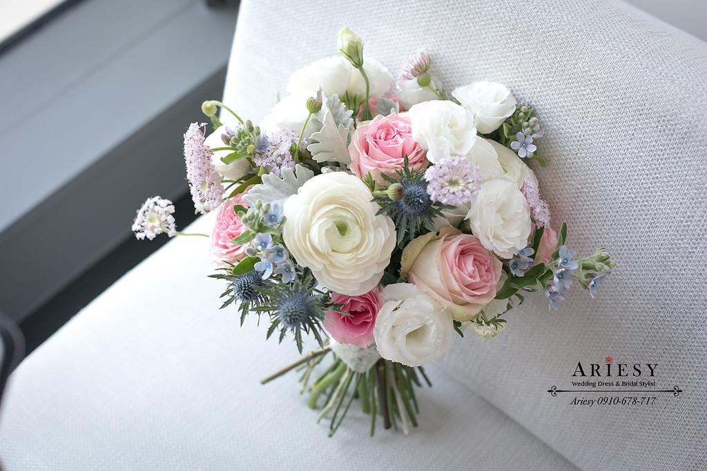 新娘捧花,美式捧花,白粉捧花,weddingbouquet,鮮花新秘,鮮花造型