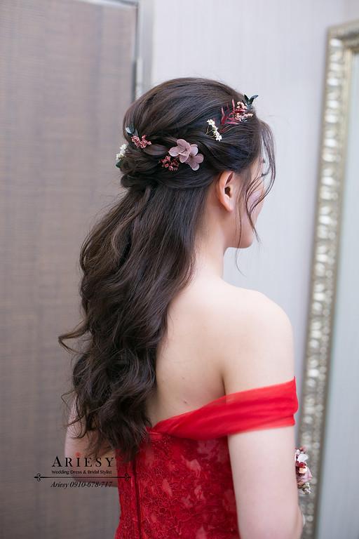愛瑞思ariesy婚紗,紅色禮服新娘髮型,鮮花花藝新娘造型,新秘,新娘秘書,愛瑞思,ARIESY