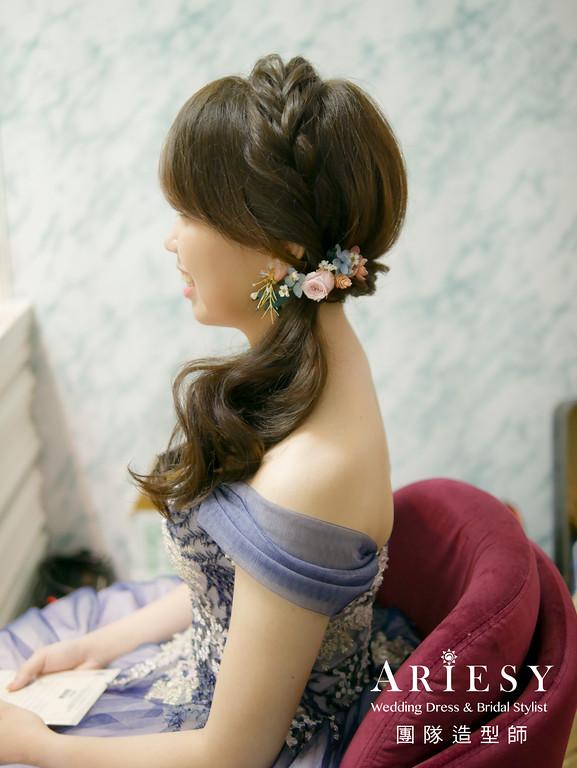 送客造型,新秘花藝,新秘推薦,花耳環,單眼皮新娘