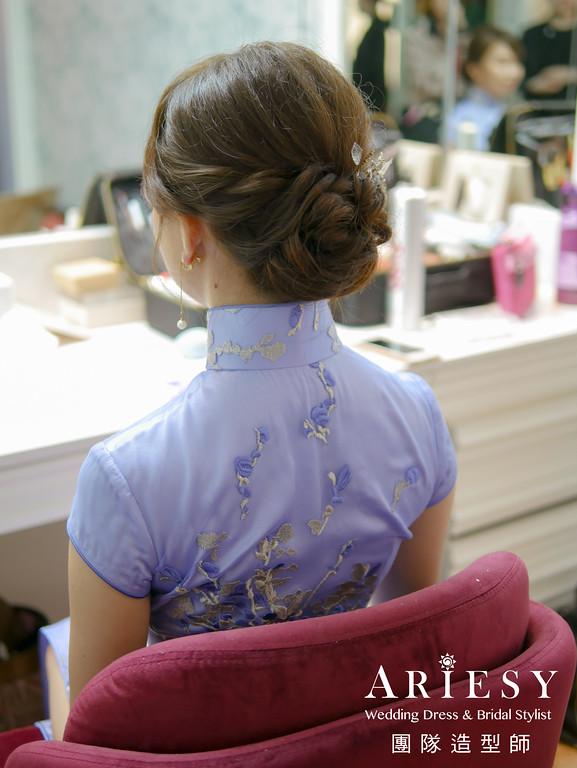 敬酒造型,旗袍造型,蓬鬆盤髮,新娘秘書,單眼皮新娘