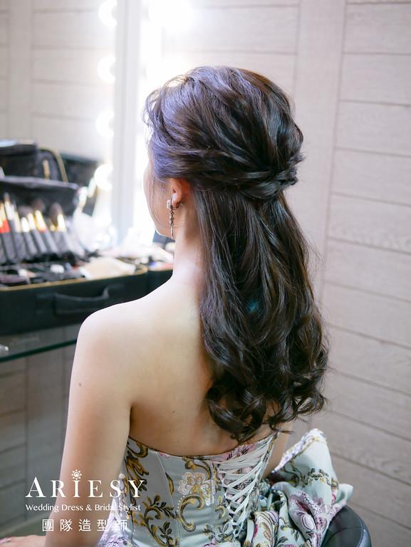 送客造型,公主頭造型,新娘髮型,線條造型,單眼皮新娘