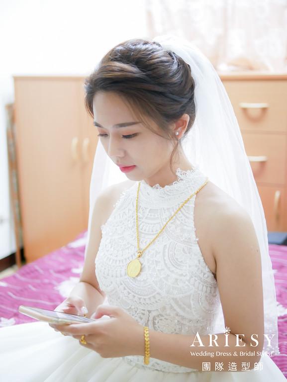 迎娶髮型,新娘秘書,新娘造型,自然妝感,單眼皮新娘