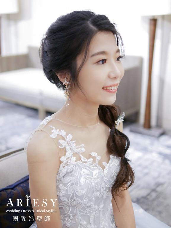 送客髮型,黑髮編髮造型,新娘髮型,台北新秘,新秘花藝