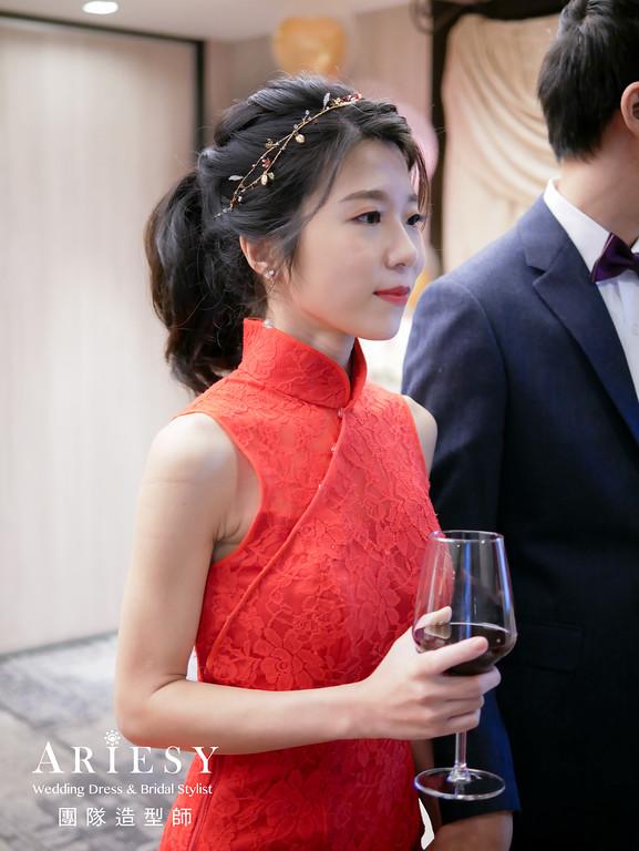 敬酒髮型,馬尾造型,新秘推薦,紅色旗袍造型,黑髮新娘造型
