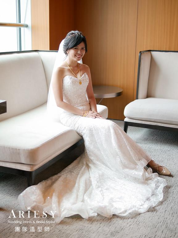 迎娶造型,新娘自然妝感,新娘髮型,歐美新娘造型,愛瑞思手工婚紗