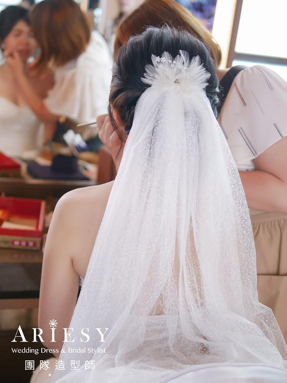 白紗進場髮型,新娘長頭紗造型,推薦新秘,愛瑞思手工婚紗,歐美新娘髮型