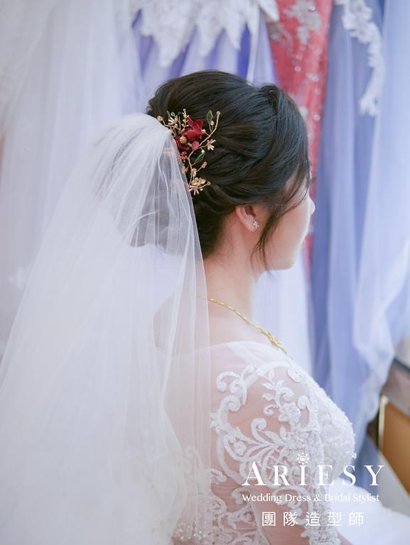 迎娶造型,黑髮編髮造型,新秘花藝,新娘白紗造型,黑髮新娘
