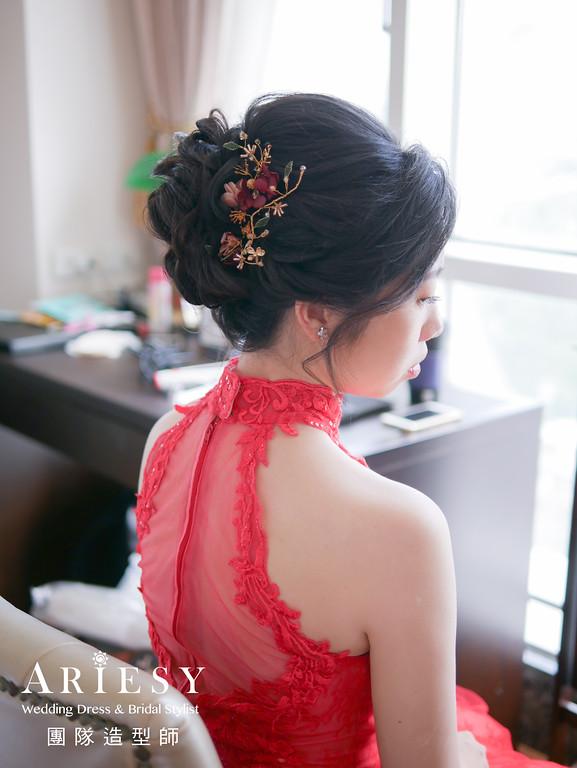 文定髮型,紅色禮服造型,黑髮新娘,新娘編髮,花藝造型