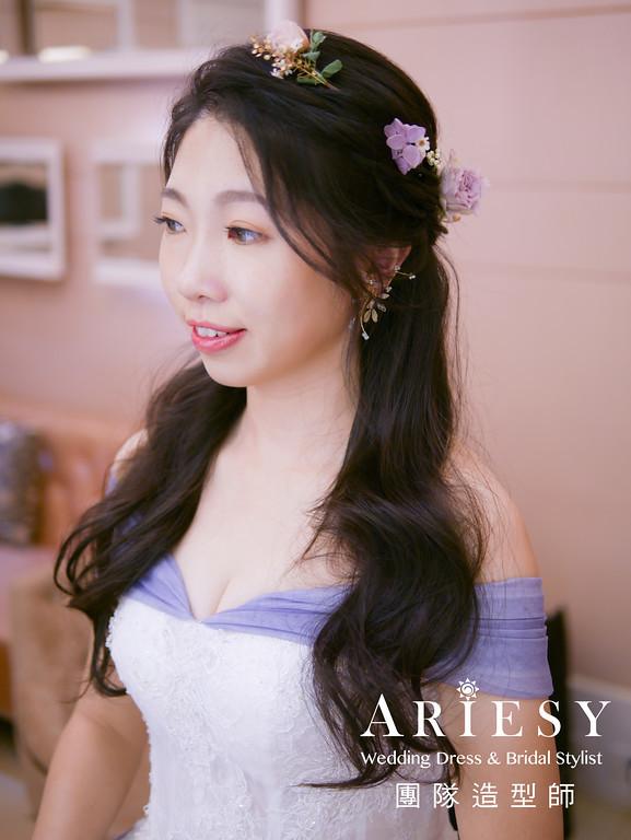 送客髮型,新秘花藝,花藝造型,黑髮新娘,花耳環