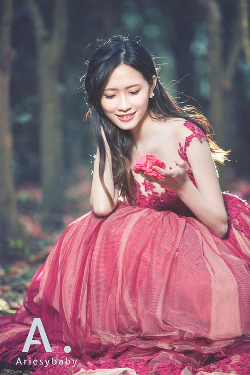 禮服出租,婚紗禮服工作室,新莊自助婚紗,手工婚紗,乾燥玫瑰色,刺繡蕾絲夢幻晚禮服,夢幻森林系