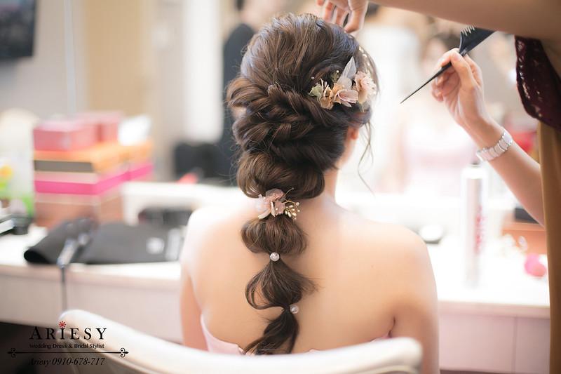 蓬鬆編髮,粉紅色禮服髮型,新秘作品,新秘推薦,台北新娘秘書
