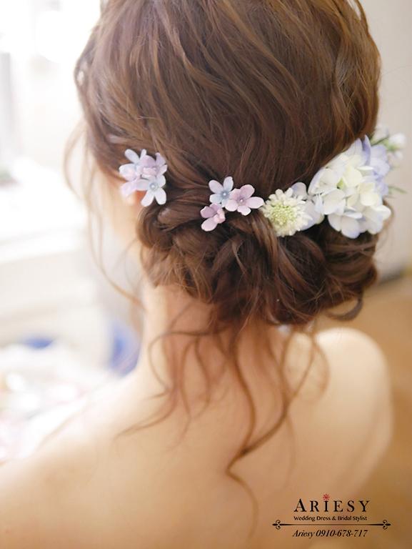 歐美新秘,歐美新娘,鮮花造型,鮮花新秘,愛瑞思,ARIESY,短髮新娘,粉紅色魚尾婚紗