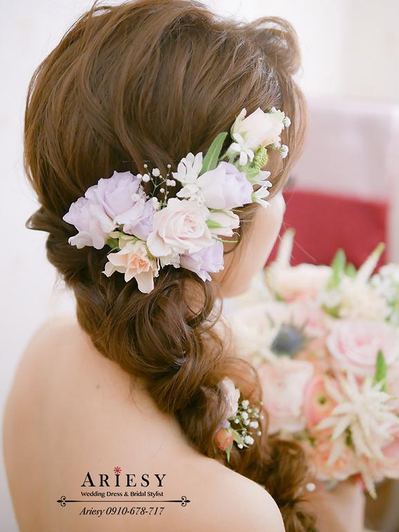 編髮造型,鮮花編髮,鮮花新秘,愛瑞思,ARIESY,短髮新娘髮型,粉紅色魚尾
