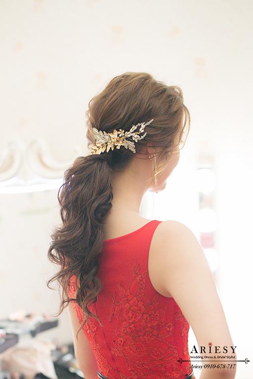 馬尾造型,歐美新秘,歐美新娘髮型,短髮新娘,短髮新秘,ARIESY,文定新秘,紅色禮服造型