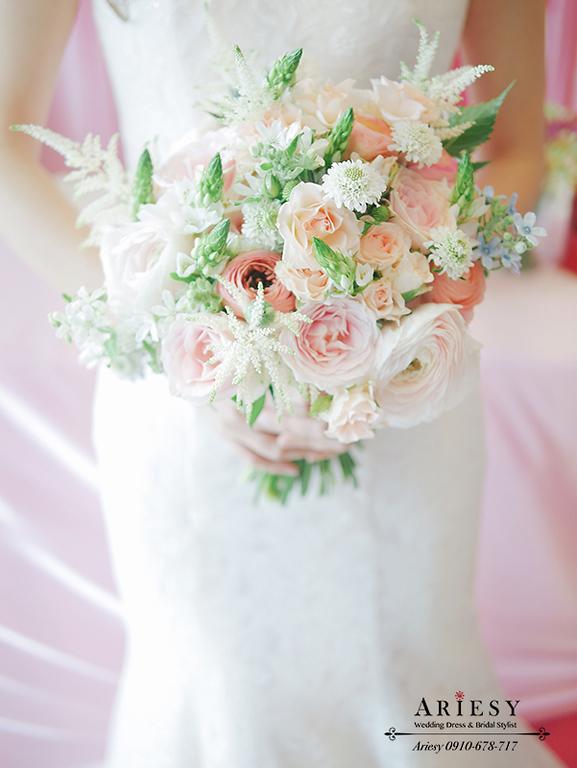 文定造型,新娘秘書,熱門新娘髮型,鮮花新秘,短髮新娘造型,愛瑞思,新秘推薦,紅色婚紗造型