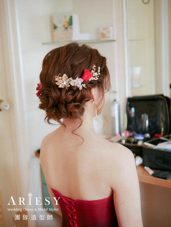 文定髮型,新娘編髮,新娘髮型,紅色禮服造型,鮮花造型