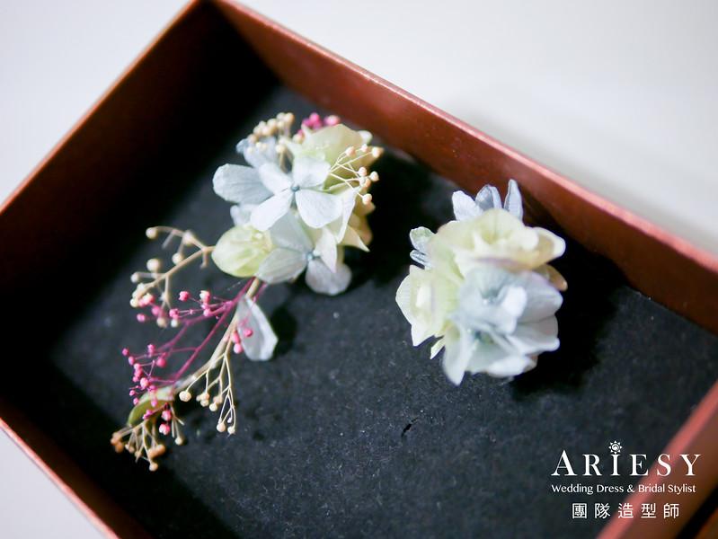水藍色禮服造型,敬酒髮型,新娘自然妝,花耳環,甜美新娘