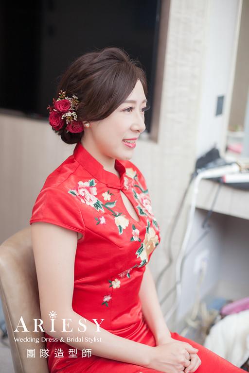文定髮型,新娘鮮花造型,新娘妝感,新娘髮型,旗袍造型