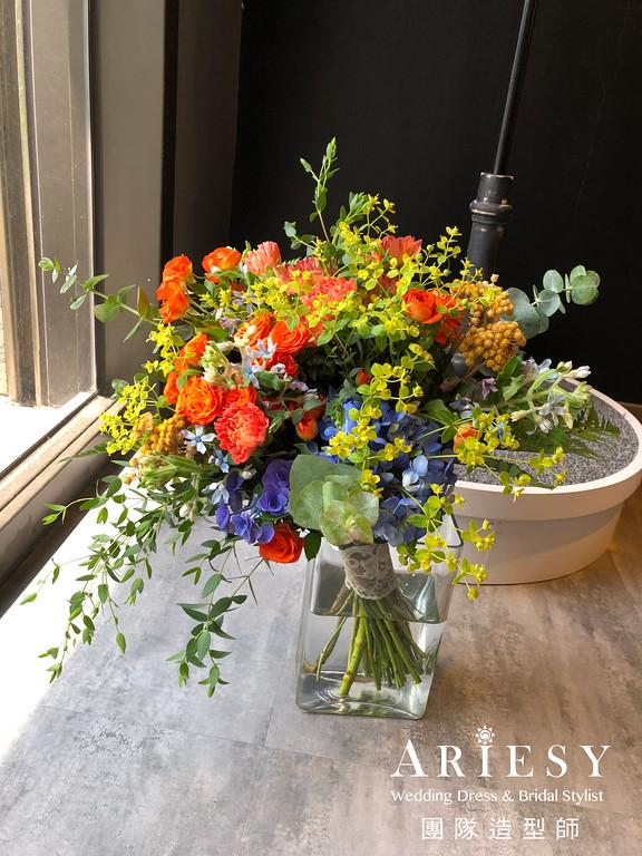 bouquet,新娘秘書,新娘捧花,美式捧花,橘色系新娘捧花