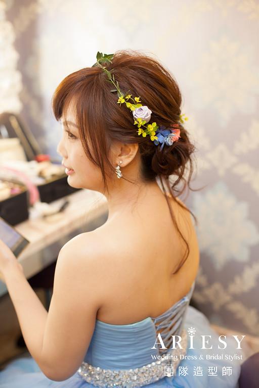 送客髮型,藍色禮服,新娘鮮花造型,新娘髮型,新娘劉海修剪