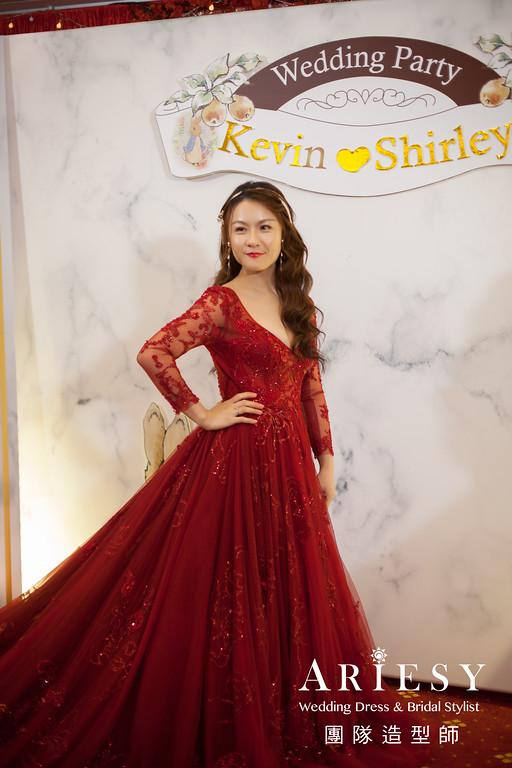 紅色禮服造型,送客髮型,歐美風格,時尚造型,新娘髮型