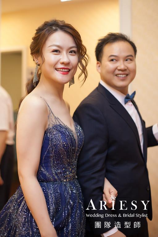 深藍色禮服造型,敬酒髮型,新秘推薦,時尚造型,歐美新娘髮型