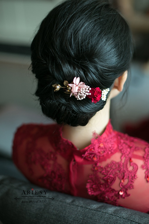 新娘秘書,旗袍文定,黑髮新娘髮型,鮮花新秘,愛瑞思,ARIESY
