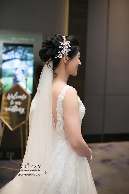新娘秘書,台北新秘,黑髮新娘髮型,白紗造型,新娘造型,ARIESY