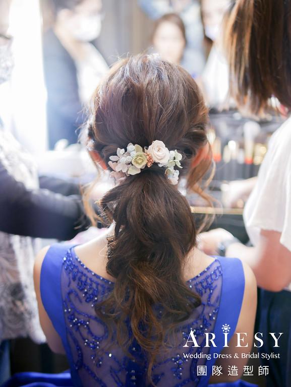 藍色禮服造型,敬酒髮型,送客髮型,甜美新娘,新秘花藝