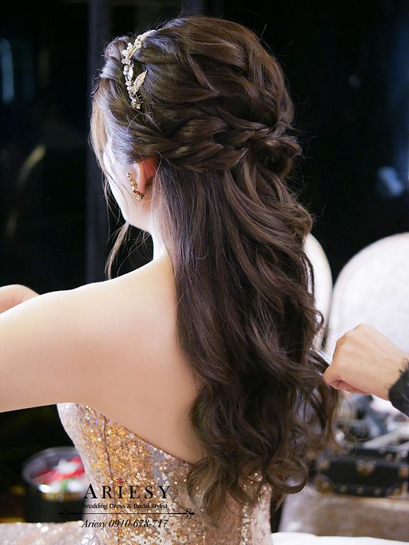 名媛新娘造型,歐美新娘秘書,新秘,金色禮服,新娘編髮,台北新秘
