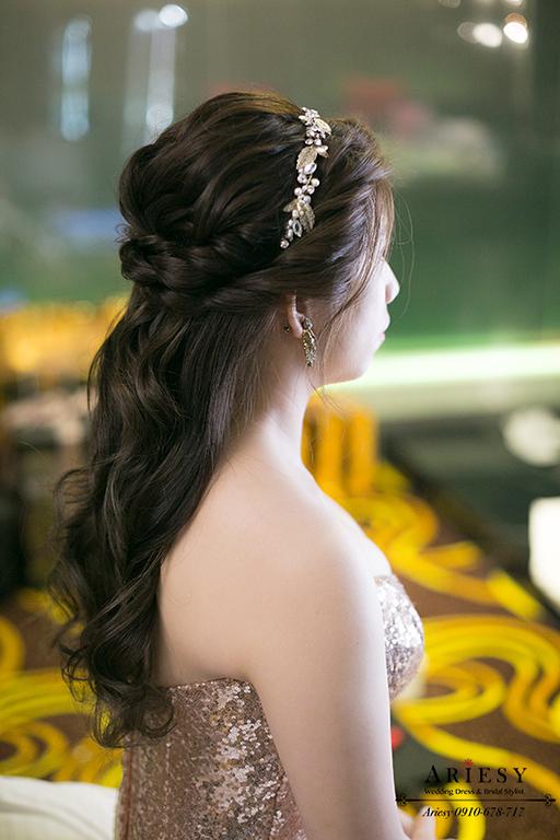 名媛新娘造型,新娘秘書,新秘,金色禮服,新娘編髮,台北新秘