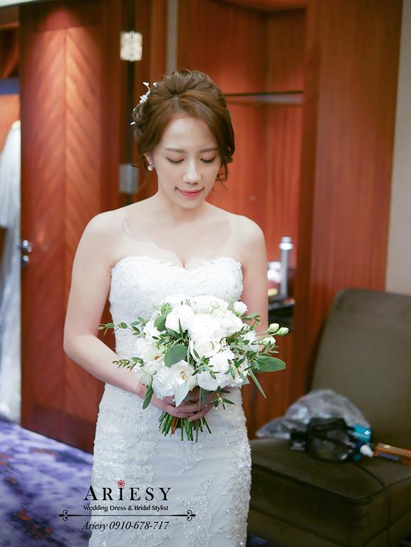 台北美式新秘,喜來登新娘婚禮,ARIESY新娘秘書,愛瑞思新秘,歐美新秘編髮盤髮,白紗新娘髮型