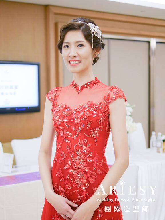 敬酒髮型,復古造型,新娘髮型,紅色禮服造型,編髮